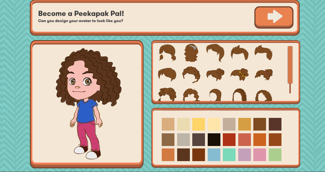 Change an avatar's features and clothing choosing a style and colour.