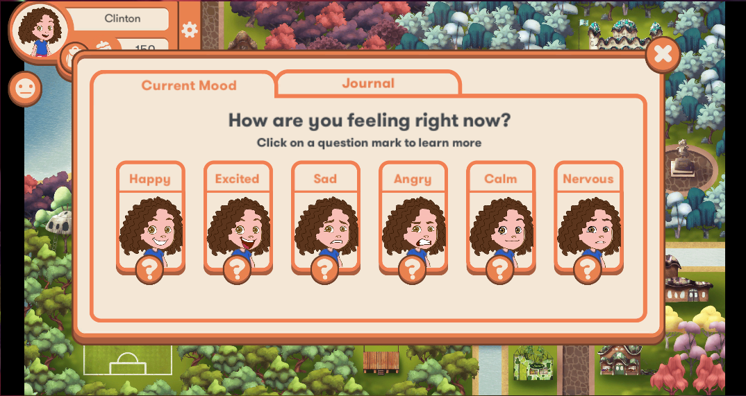 Students can select how they are feeling while playing the game.